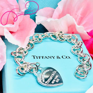 T&Co. Return to Tiffany Heart Charm Bracelet, 7""